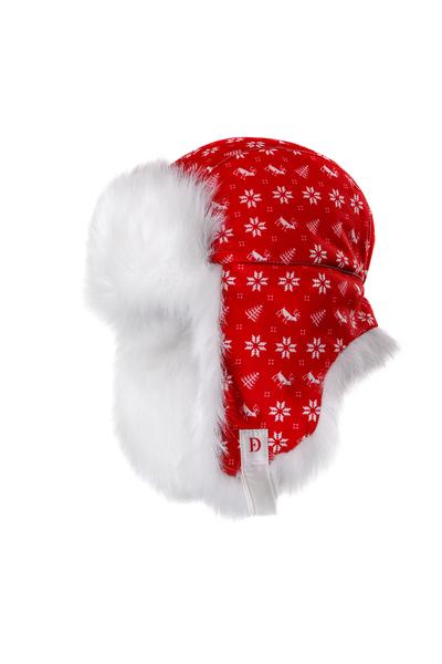 Шапка-Ушанка Dorofey Дизайн снежинки, красная