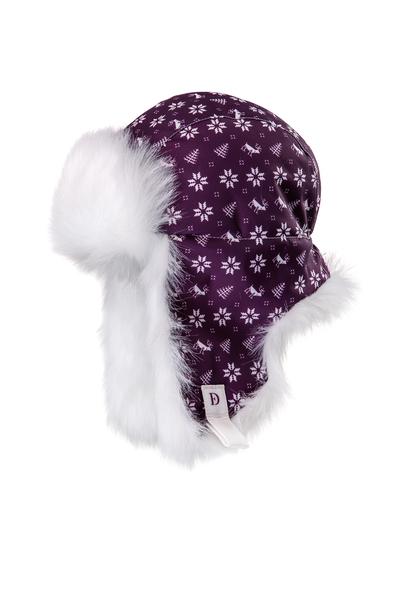 Шапка-ушанка Dorofey дизайн снежинки, фиолетовый
