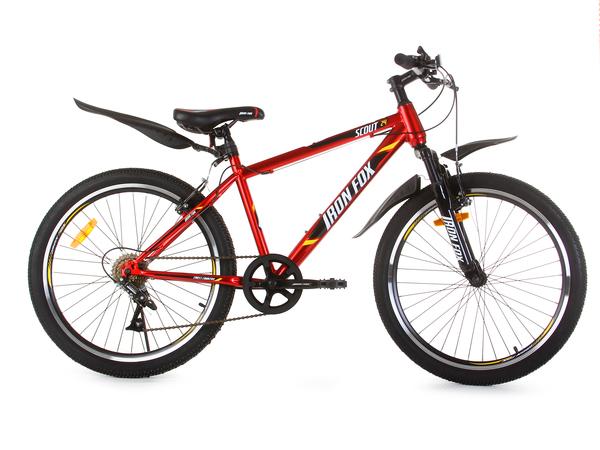 """Велосипед горный Iron Fox Scout 24"""" 6ск, красный/чёрный"""