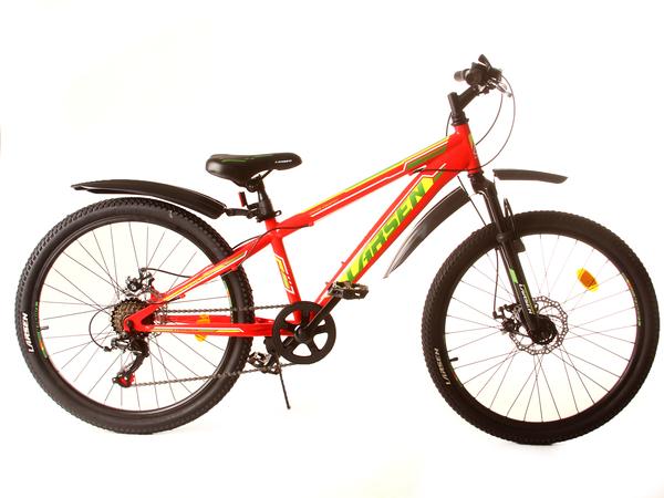 """Велосипед горный Larsen Hard Team 24"""" Disc красный/жёлтый"""