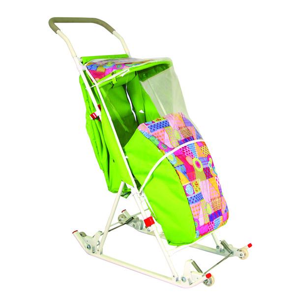 Санки-коляска складные прогулочные с козырьком