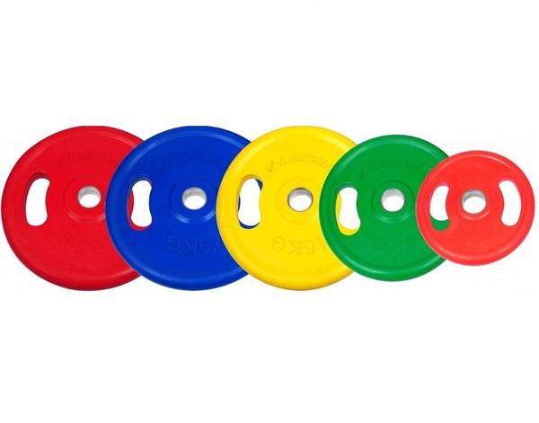 Диск обрезиненный с ручками цветной d 50 мм Larsen NT121NC 5 - 25 кг