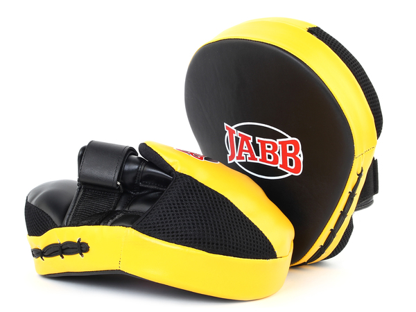 Лапы боксерские (пара) Jabb черный/желтый